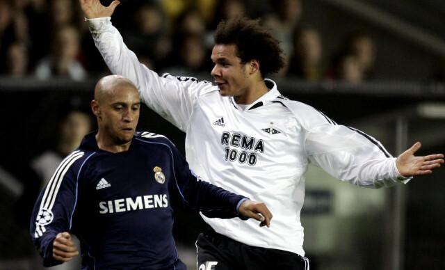 STJERNE: Daniel Braaten gjorde seg bemerket på den internasjonale fotballscenen med en god kamp mot Roberto Carlos og Real Madrid i Champions League høsten 2005. Foto: NTB Scanpix